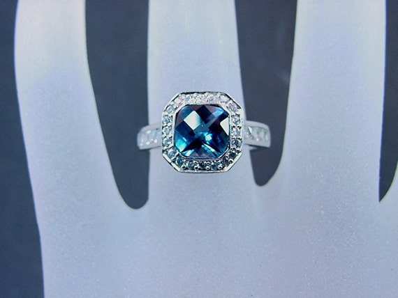 Dark London Blue Topaz 7x7mm 1.58 carats in 14K white gold and diamond ring .60 carats C77 0804 MMM