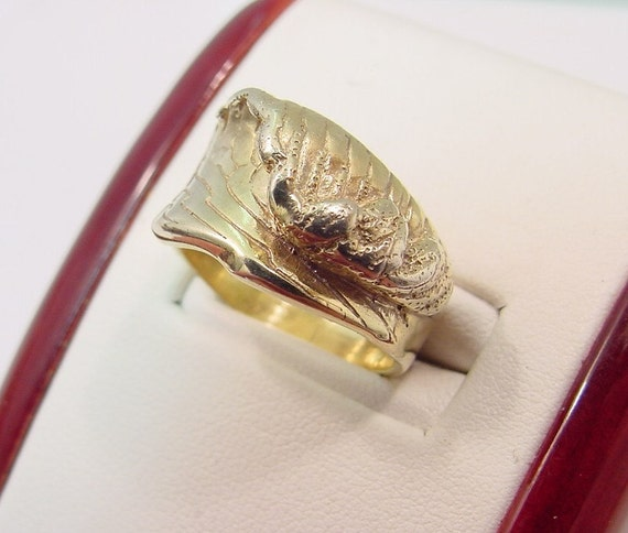 Hand carved Mens WAVE ring in 4K yellow gold  11 grams Also available in 14K White and 14K rose gold
