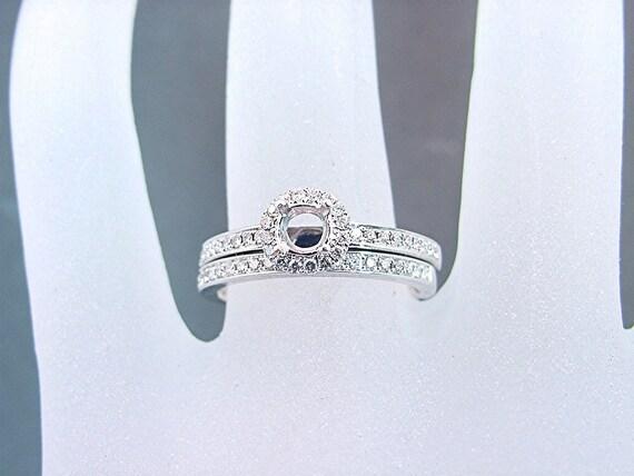 Halo style 14K white gold and diamond Semi mount wedding/bridal set. .30 carats TW  Ready for your gemstone