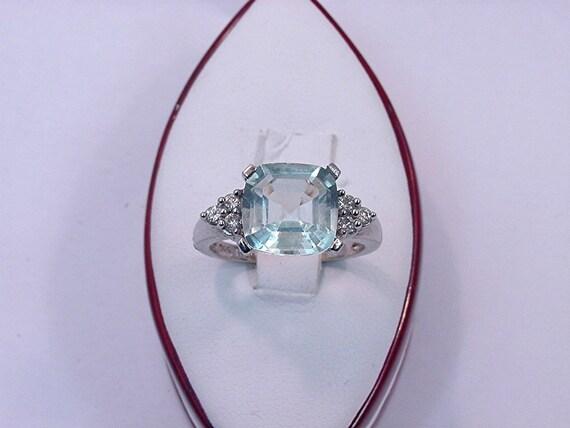 10x10mm 3.75 Carat Asscher Cut Cushion cut Aquamarine White gold diamond (.18ct) Ring 0680
