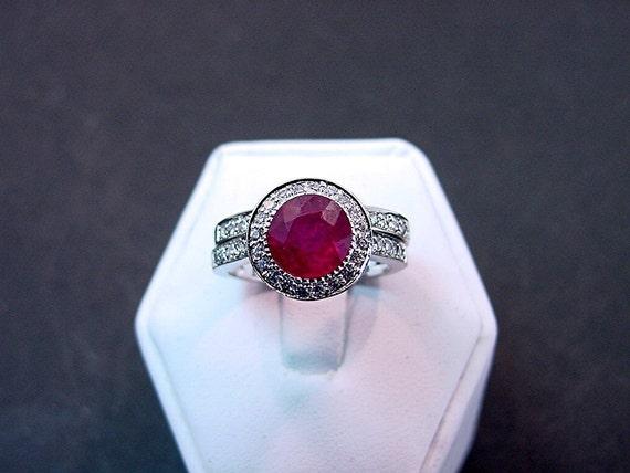 7mm 2.48 Carat Natural Ruby 14K white gold and diamond (.35ct) bridal set. 901 B007