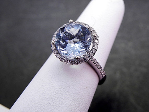 Reserved for Ashley AAA Natural Untreated 11mm Round  Aquamarine (4.06ct) set in 18K white gold Halo ring with .50 carats of diamonds