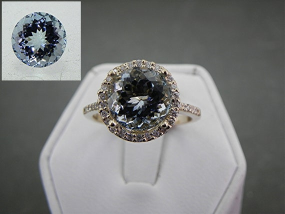 AAA Natural Untreated 10mm Round Aquamarine (3.75ct) set in 14K Yellow gold Halo ring with .50 carats of diamonds 0982