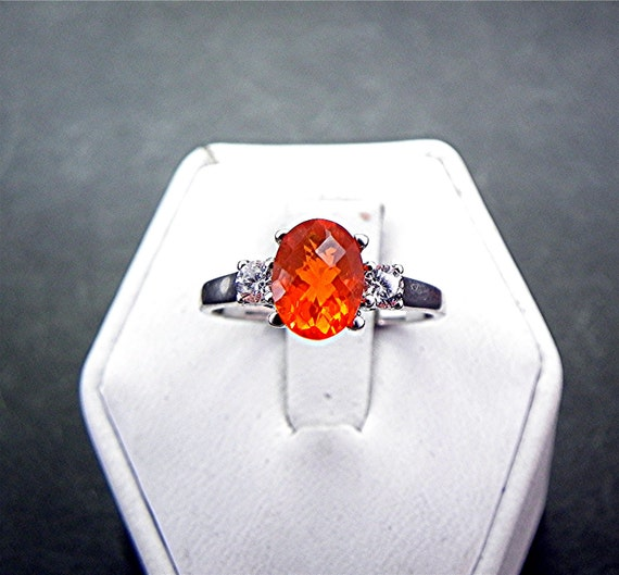 8x6mm 0.98 ct Mexican Fire Opal with .14 cts of Diamonds 14K white gold ring 1065 C863