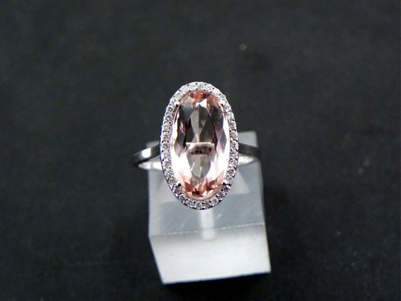 Reserved for Jukia AAA 4.78 carat 14.6x8mm Oval Peach colored natural Morganite Diamond Halo ring 14K white gold.  1201
