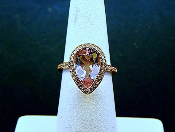 AAAA 2.83 Ct 12 X 8mm. Natural Untreated Pear shaped Pink Morganite set in a 14K  Rose gold ring with diamonds (.32ct) Ring  1226