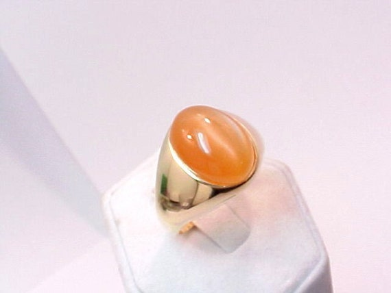 Honey Cat's-eye Moonstone Cabochon 15x12m 14K gold ring  11.5grams 048 MMM