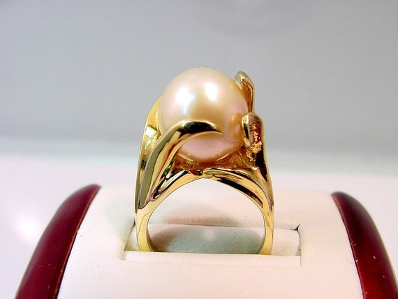 Wave free flowing 12mm  Pearl 14K yellow gold ring