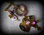 pink sugar. vintage boho assemblege lariat necklace. lovers memoir