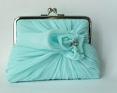 Spearmint Clutch With Sparkling Accent - Medium