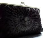 Black Satin Button Clutch - Size Large - Ready To Ship