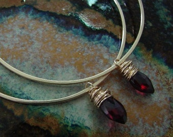 Gold and Garnet Hoops
