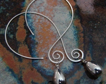 Sterling Silver Earrings - Open Swirly Hoops
