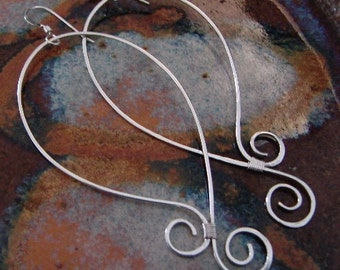 Curly Bottom Hoops - Sterling Silver Earrings