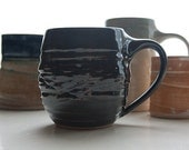 Ebony Man Mug: Wheel-Thrown Pottery Coffee Cup
