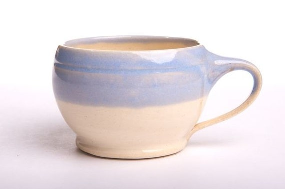 Sky Blue and Cream Coffee Mug Wheel-thrown Pottery