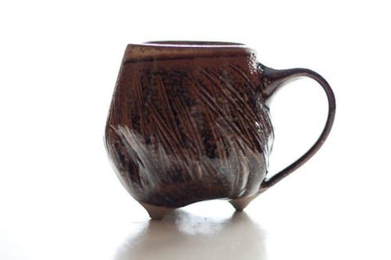 Amber Celadon Tripod Mug: Wheel-thrown Pottery Cup