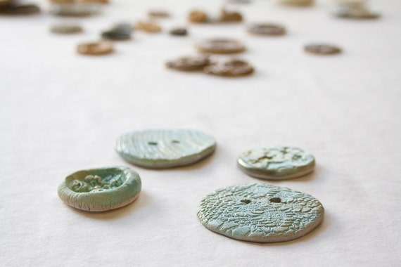 Reduced: Aquamarine Buttons Handbuilt Pottery