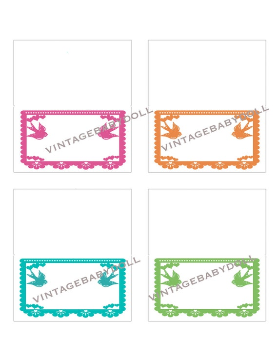 Love birds wedding place cards or food tents  - DIY printable - Papel Picado - Non-Personalized