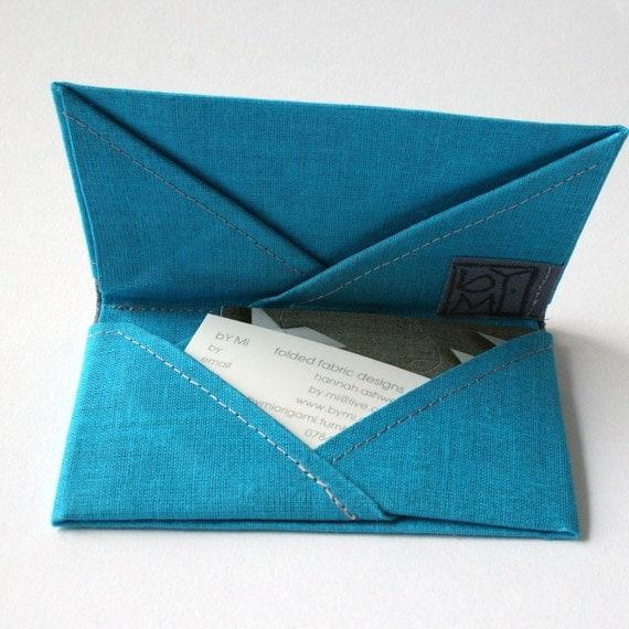 Turquoise & Grey Six Pocket Cardholder - Cotton Origami