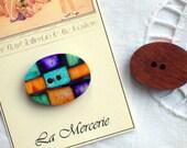 Soapstone Mosaic and Polished Wood Handmade Button...
