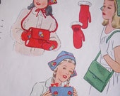 RESERVED FOR KITTENTOWN....Vintage Sewing Pattern...Simplicity 1142...Girls' Hat Bag Mittens and Muff Bag...Dated 1944