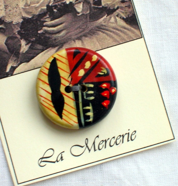 Ethnic Wooden Button...Abstract Hand Painting...