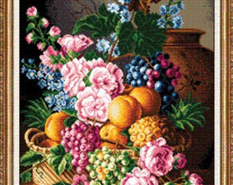 "Made to order - a gobelin / cross stitch, wall decor  ""Peaches"""