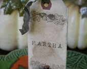 THANKSGIVING-place cards-THANKFUL-harvest-ACORN- personalized-CHOICE OF RIBBON COLOR-set of 6