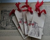 """tag - """"QUEEN OF HEARTS"""" - Alice in Wonderland - Set of 5, choose ribbon color"""
