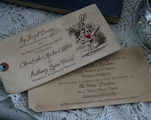 Alice in Wonderland Invitations - vintage style, custom invitations and matching envelopes - Set of 30