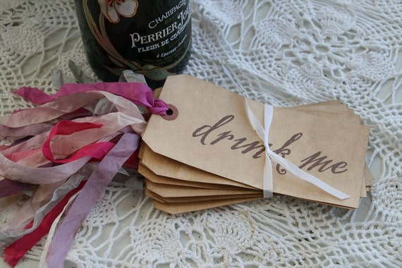 Drink Me Tags ---set of 12---XTRA LONG RIBBON---choice of ribbon color