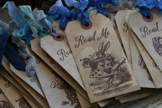 """ALICE IN WONDERLAND - """"Read Me"""" tags or bookmarks - choice of ribbon and character - set of 10"""