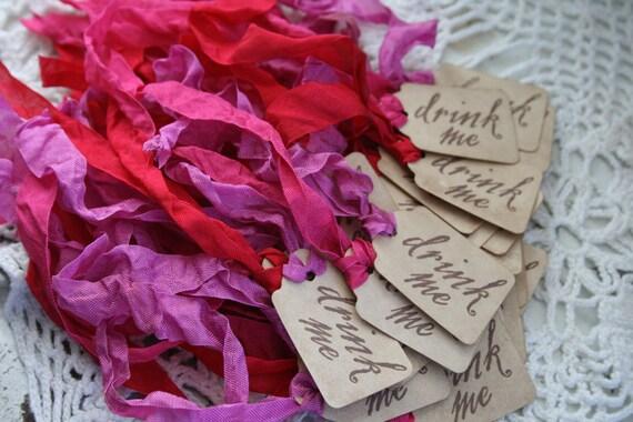 DRINK ME TAG - wedding favor- Alice in Wonderland - Set of 24 - choose ribbon color