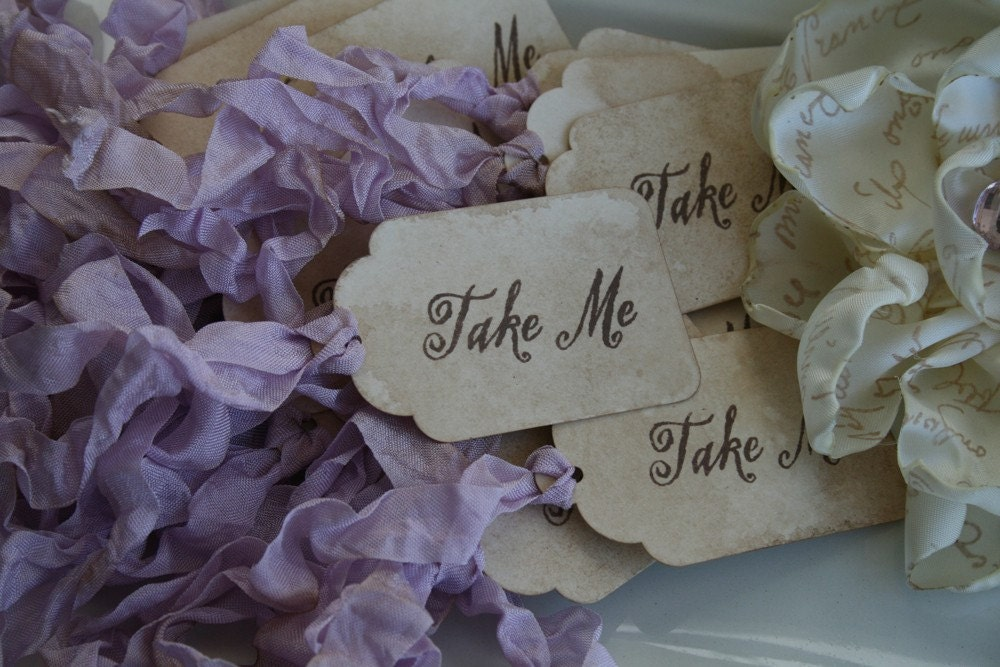Wedding Favor Ribbon Tags : WEDDING FAVOR TAGS Take Me set of 24 Choose ribbon color
