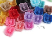 100pc you choose tiny sakura 7mm resin flower cabochons, 20 colors, perfect for making stud earrings