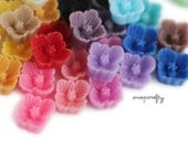 10pc you choose tiny sakura 7mm resin flower cabochons, 20 colors, perfect for making stud earrings