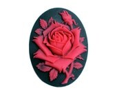 2pc 40x30mm red rose cameos, top quality, create amazing pendants