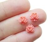tiny coral pink vintage plastic rose cabochons, 8 pcs