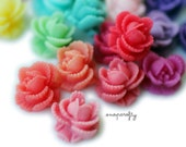 20pc ruffled rose resin flower cabochons / flat back flower embellishments / 11mm / 22 colors