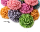 10pc you choose color victorian resin flower cabochon, 23mm, make resin flower hair pins, rings, pendants
