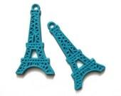 2 blue vintage plastic 1950s eiffel tower charms
