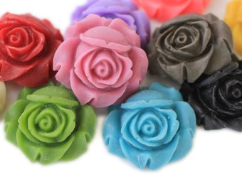 4pc matte rose resin flower cabochons / resin cabs in glowing colors / perfect pendants / flat back flower embellishments / 25mm / red, gold