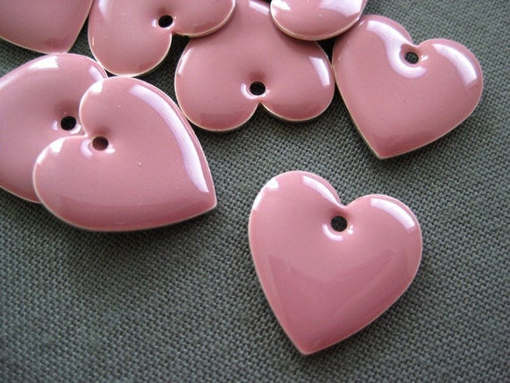 cute rose pink enameled heart charm, 6 pcs
