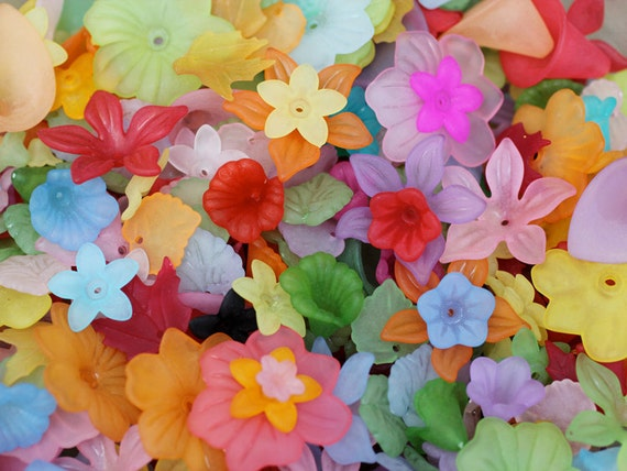 1oz / 65pc follow the rainbow lucite flower bead mix / assorted flower beads
