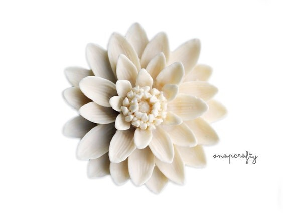 1pc large ivory water lily flower cabochon, matte resin, 50mm cameo flat back