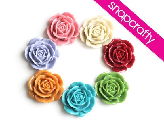 you choose 6 giant glossy roses assortment-perfect for brooches, 7 colors -39mm-