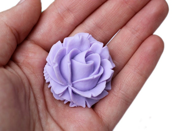 2pc lavender blooming rose large cabochons 39mm