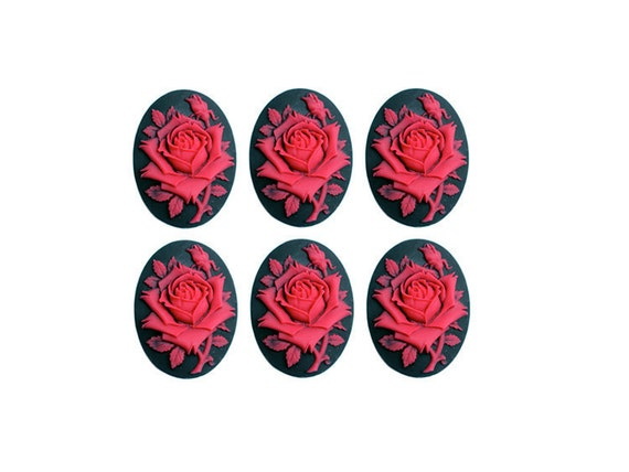 6pc 18x13mm red rose cameo cabochons