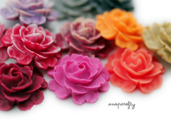 10pc large cabbage rose matte resin cabochons / choose your colors / perfect for rings and pendants 22mm